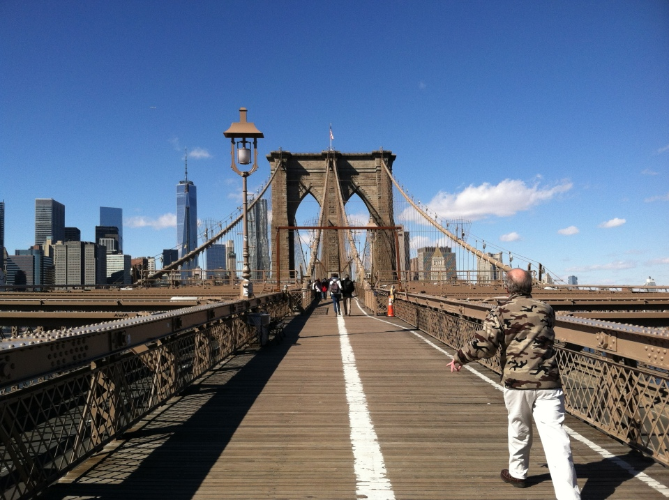 Mark Utter Walks Across Brooklyn Bridge
